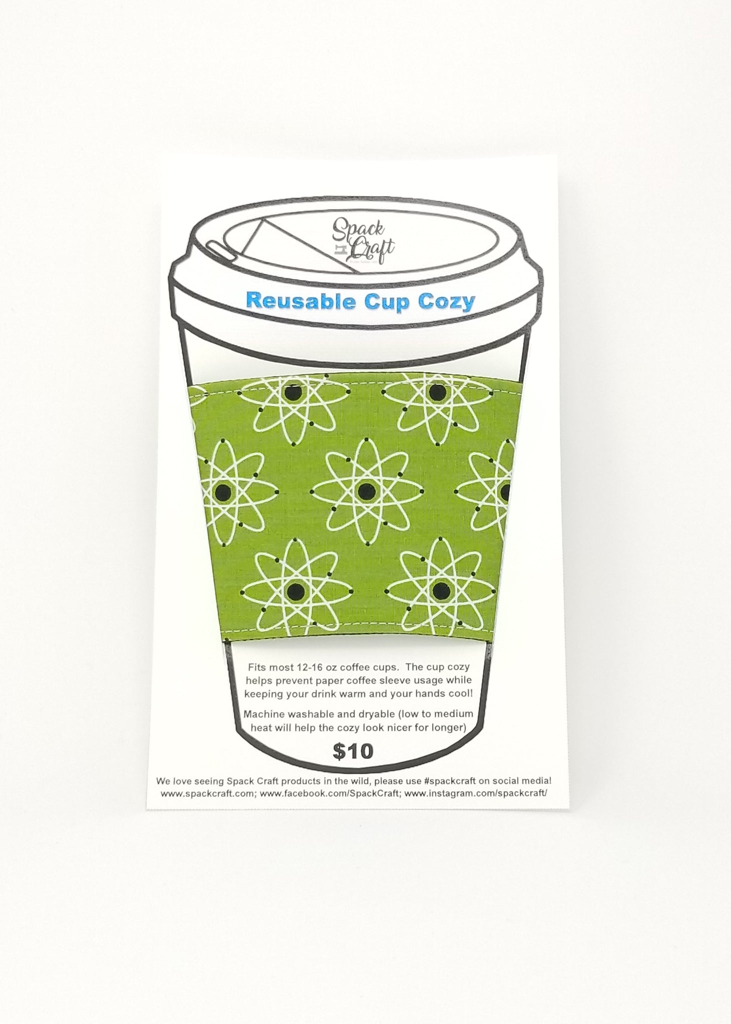 Reusable cup cozy in packaging - Atomic Green