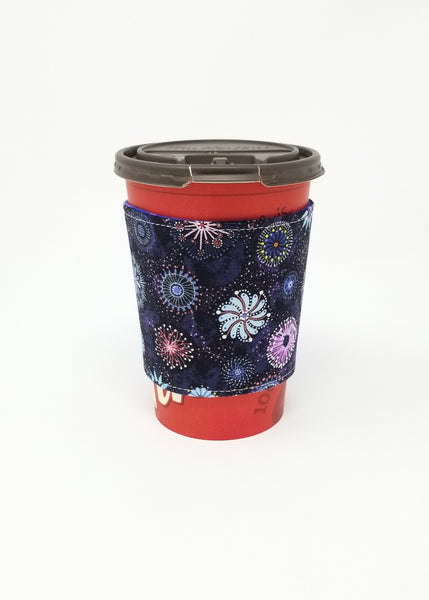 Reusable cup cozy displayed on a medium Tim Horton's coffee cup - Dandelions and Pinwheels