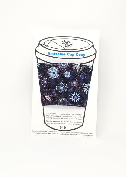 Reusable cup cozy in packaging - Dandelions and Pinwheels
