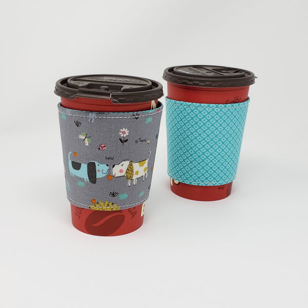 Reusable cup cozy - The Dogs and the Bees - Pictured on a medium Tim Horton's cup
