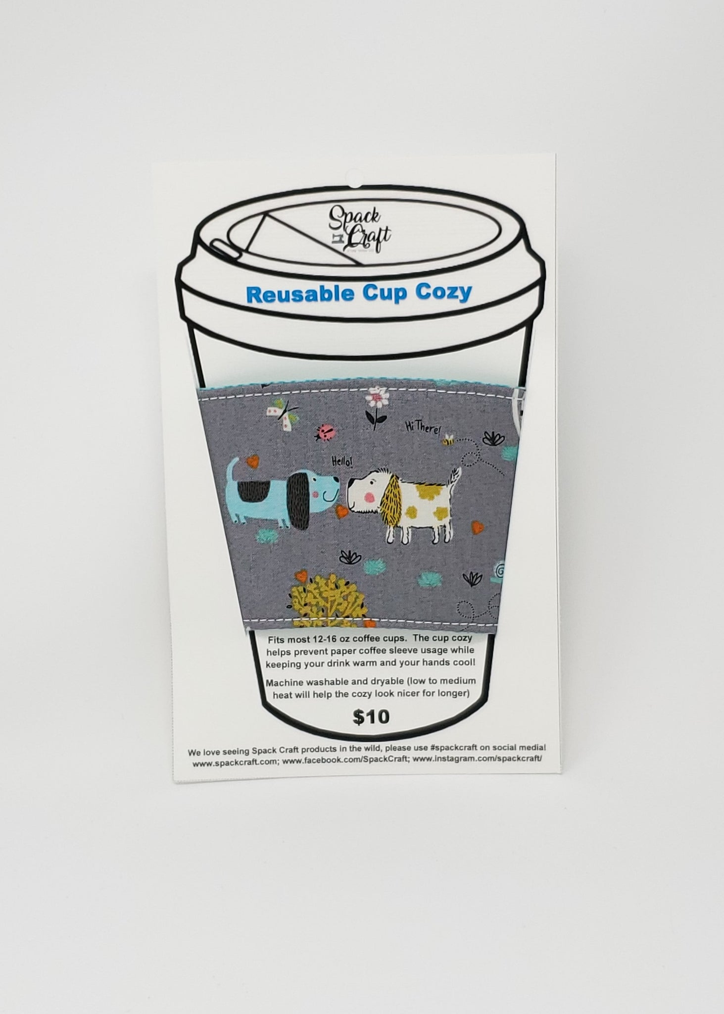 Reusable cup cozy - The Dogs and the Bees - in package