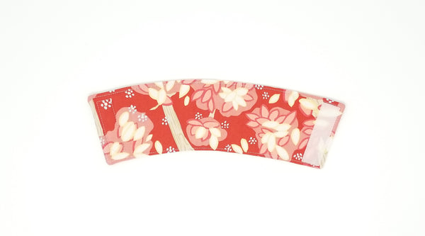 Reusable cup cozy back - red and pink floral coordinate