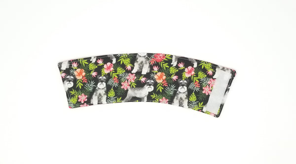 Reusable cup cozy front - Floral Schnauzers
