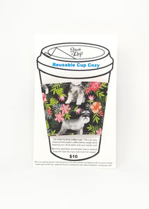 Reusable cup cozy in packaging - Floral Schnauzers