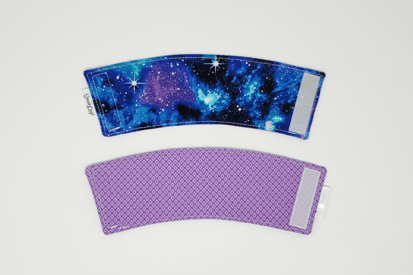Reusable cup cozy - Galaxy - front and back