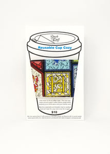 Reusable cup cozy in packaging - Harry Potter Stained Glass House Sigils