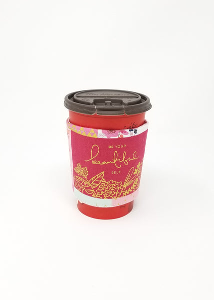 Reusable cup cozy displayed on a medium Tim Horton's coffee cup - Be Inspired