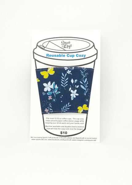 Reusable cup cozy in packaging - Navy Butterflies and Flowers