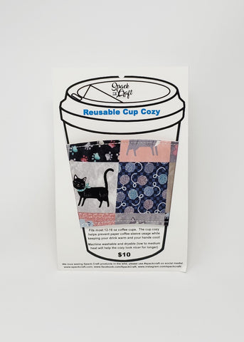 Reusable cup cozy - Paris cats - in package