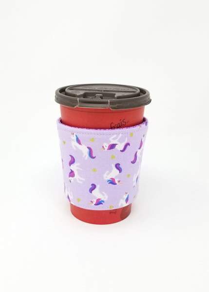 Reusable cup cozy displayed on a medium Tim Horton's coffee cup - Purple Unicorns