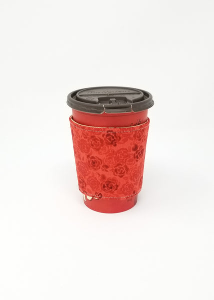 Reusable cup cozy displayed on a medium Tim Horton's coffee cup - Red Roses