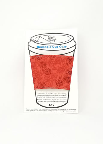 Reusable cup cozy in packaging - Red Roses