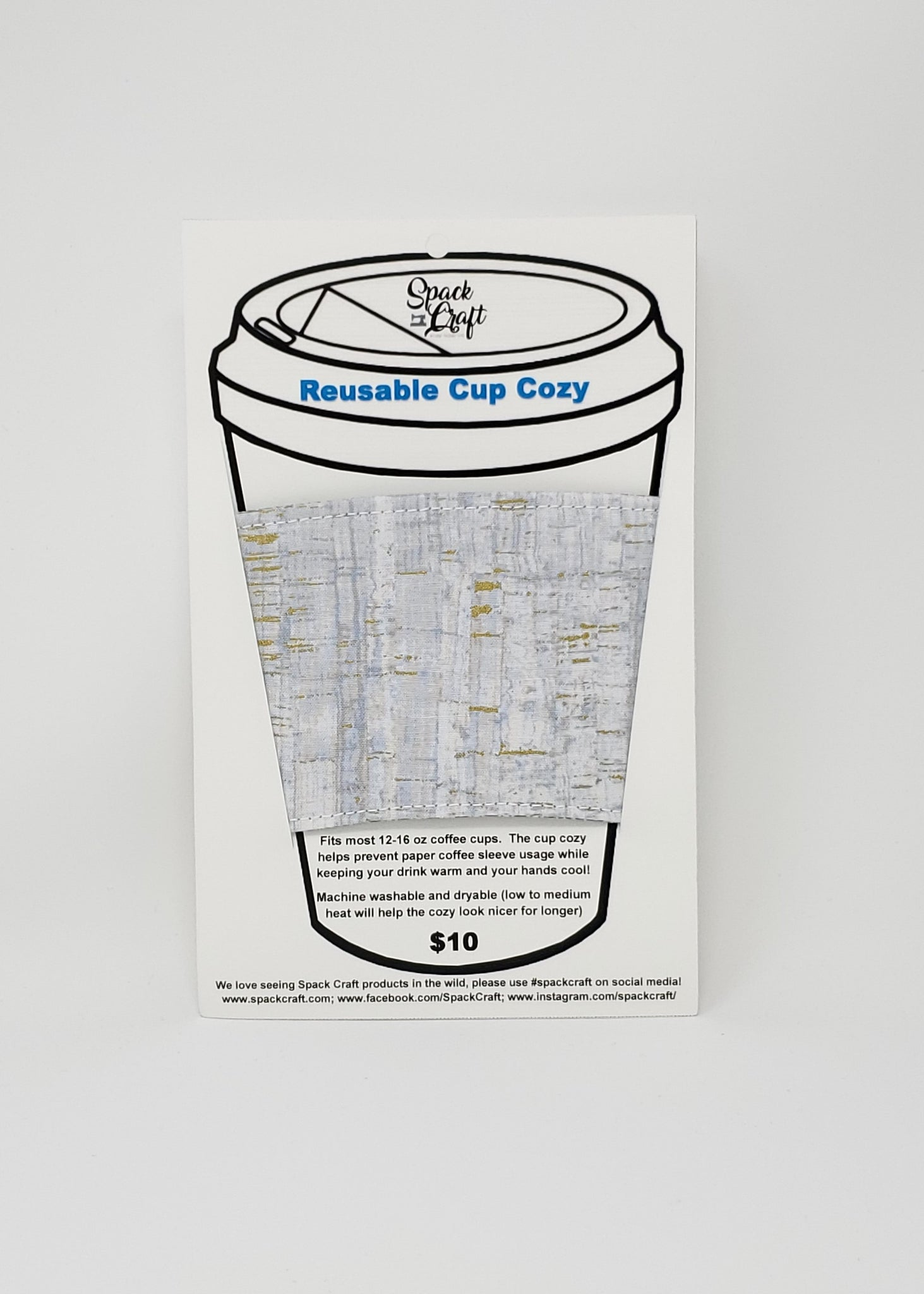 Reusable cup cozy - Uncorked (grey) - in package