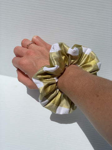 Metallic Gold Plaid Scrunchie