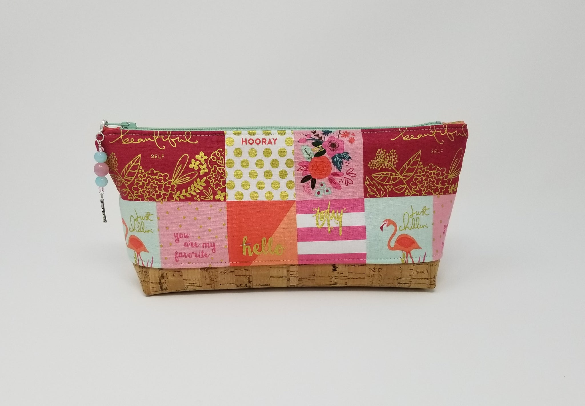Essential Oil Bag - Be Inspired print with natural cork base