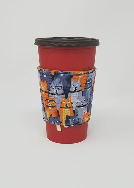 Reusable cup cozy displayed on a large Tim Horton's coffee cup - Orange Kitties