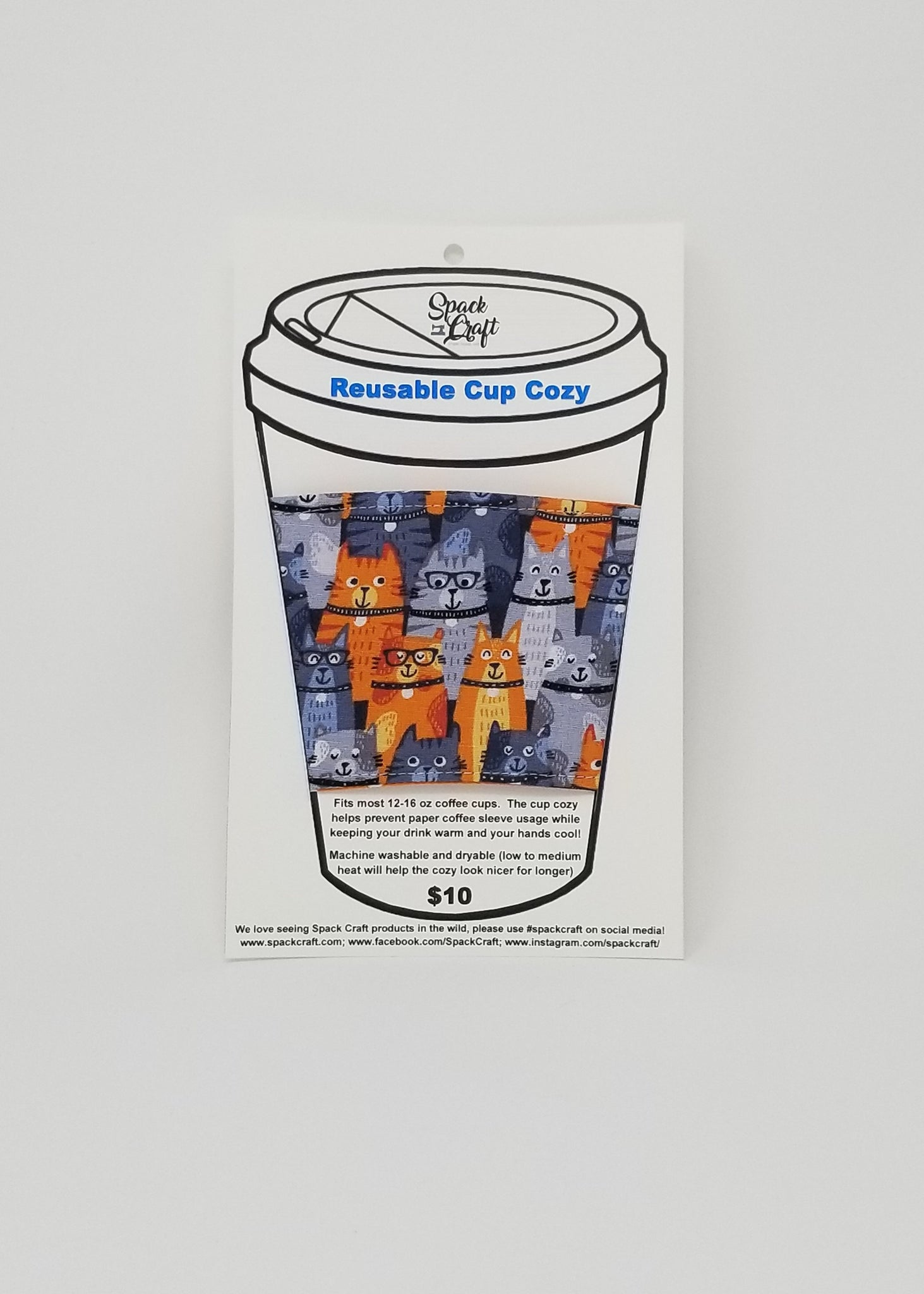 Reusable cup cozy in packaging - Orange Kitties