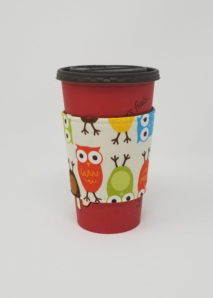 Reusable cup cozy displayed on a large Tim Horton's coffee cup - Owls
