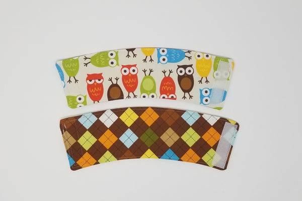 Reusable cup cozy front & back - Owls and Argyle