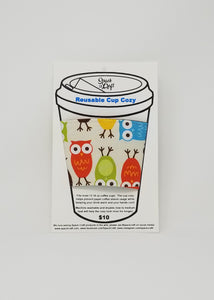 Reusable cup cozy in packaging - Owls