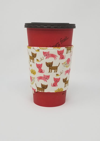 Reusable cup cozy displayed on a large Tim Horton's coffee cup - Pink Kittens