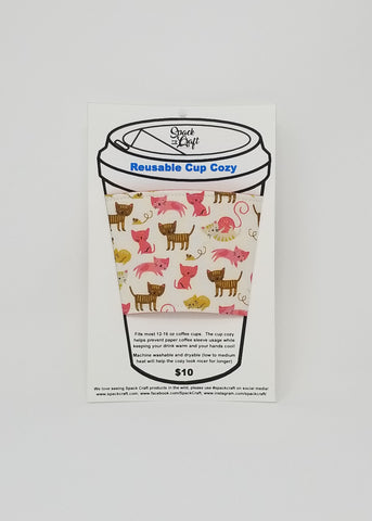 Reusable cup cozy in packaging - Pink Kittens