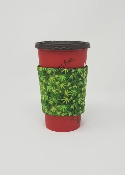 Reusable cup cozy displayed on a large Tim Horton's coffee cup - Cannabis