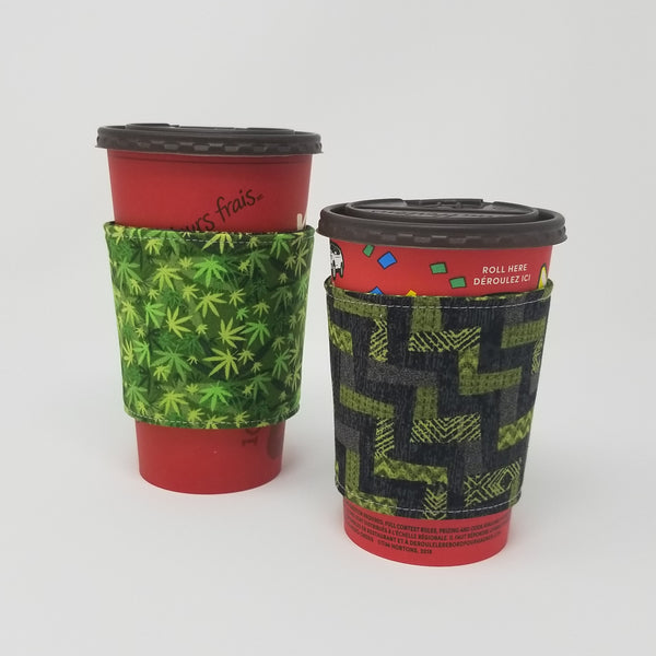 Reusable cup cozy displayed on a large and medium coffee cup - Cannabis
