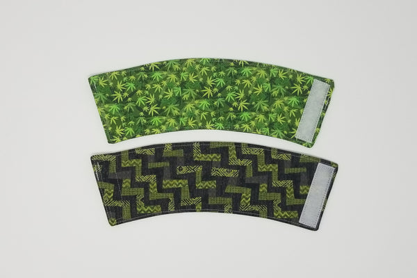 Reusable cup cozy front & back - Cannabis