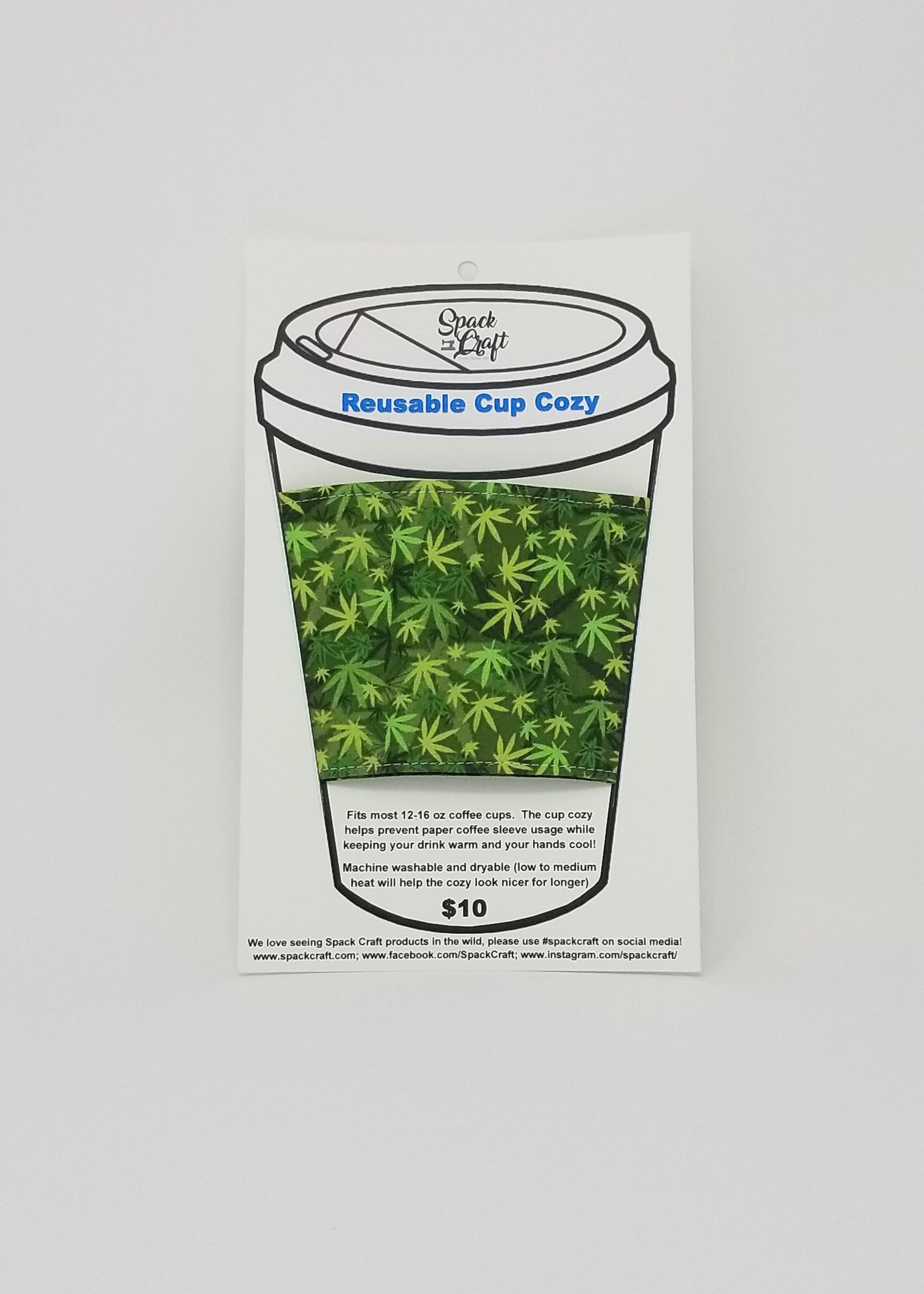 Reusable cup cozy in packaging - Cannabis