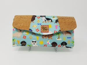 Necessary Clutch Wallet - Beach Dachshunds with Cork Accents