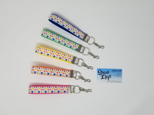 Tiny Colourful Paws Keychain Wristlet with Swivel Clip