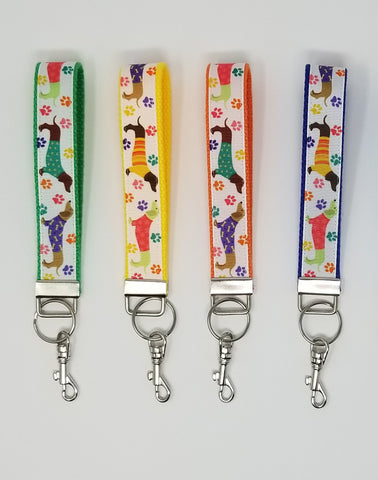 Colourful Dachshund Sweater Keychain Wristlet with Swivel Clip