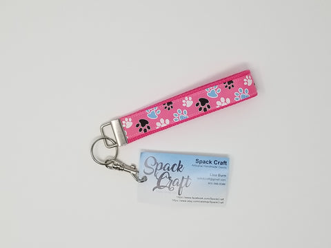 Hot Pink Paws Keychain Wristlet with Swivel Clip