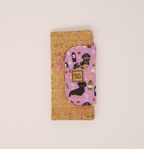 Slimline Wallet -  Metallic Pink Cork Wine & Wieners (Dachshunds)