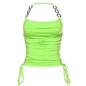 drawstring ruched halter top