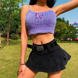 Butterfly metal chain strap knitted fluffy camisole