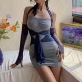 Mesh self tie bodycon balter dress