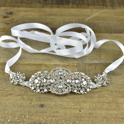 Patria Headpiece (Silk White Ribbon)