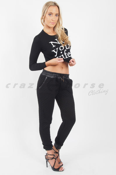 Not Your Wifey Long Sleeve Crop Black