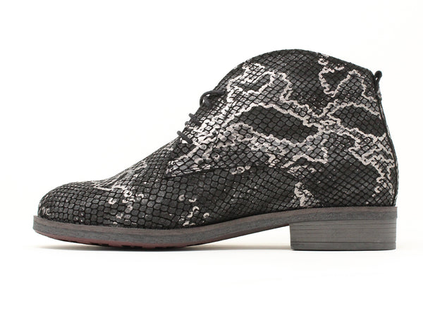 Durea Black Silver Snake Print Boot ShoeMed