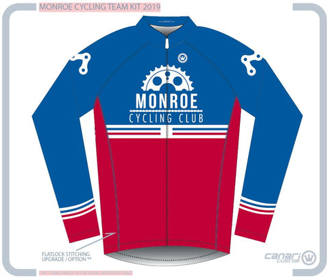 Monroe Cycling Club W Club Winter LS Jersey RED WHITE BLUE