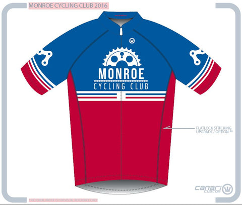 Monroe Cycling Club M Club SS Jersey RED WHITE BLUE