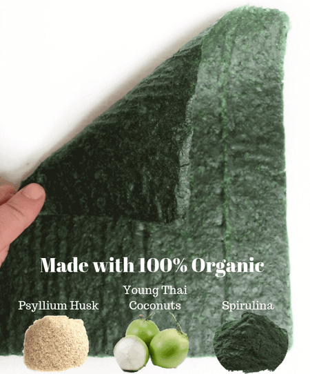 Imperfect Spirulina Coconut Wraps Bulk (20 Sheets)