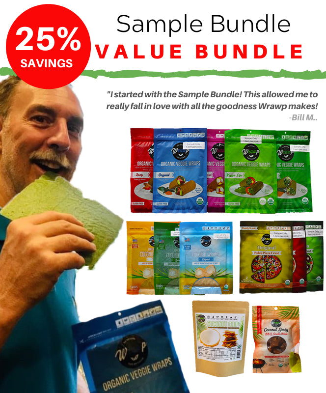 BUNDLE - Sample Bundle: 1 sheet of all the wraps & pizza + extra chips and jerky!