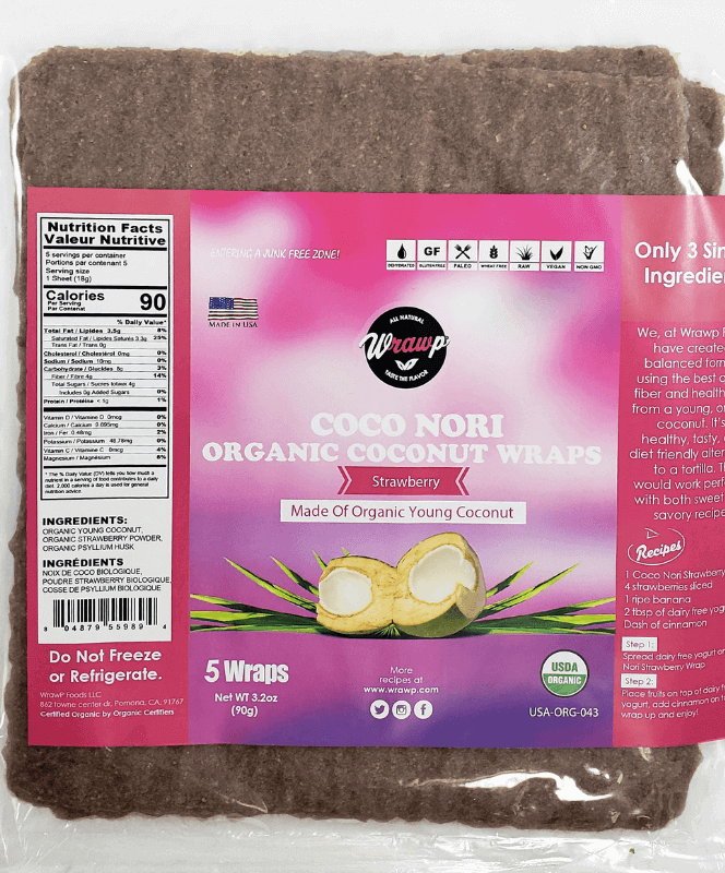 Coco Nori Strawberry Coconut Wraps - Wholesale