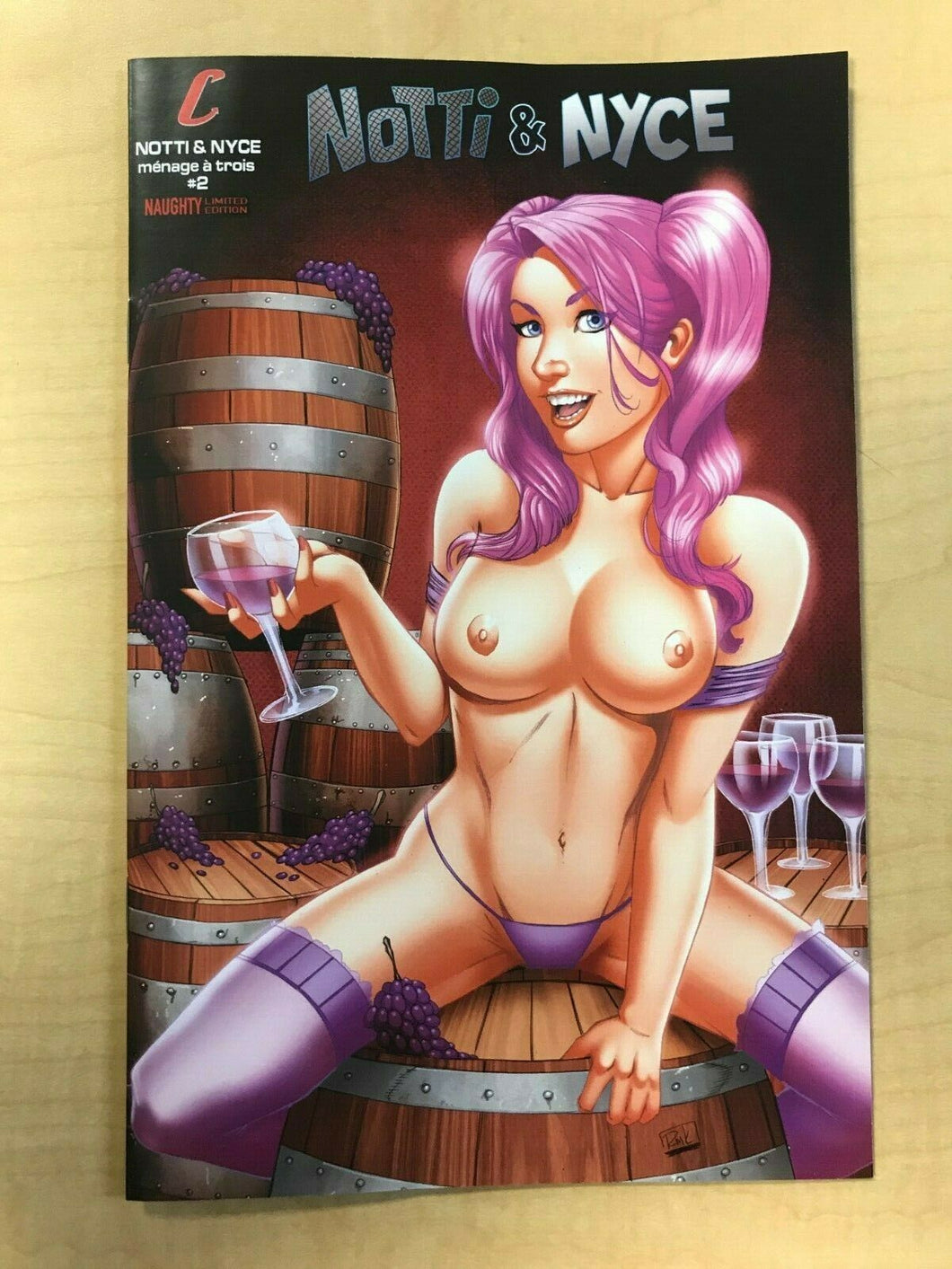 Notti & Nyce Ménage A Trois #2 NAUGHTY TOPLESS Variant Cover by RYAN KINCAID Counterpoint Entertainment