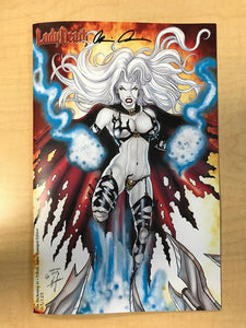 Lady Death The Reckoning #1 Tribute Battle Damaged Variant Cover by David Harrigan Signed Brian Pulido Only 125 Copies Made!!!