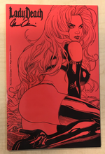 Load image into Gallery viewer, Lady Death: Merciless Onslaught #1 Lady Death Store Exclusive Mega Red Incentive Edition Variant Cover by Richard Ortiz Signed by Brian Pulido w/ COA!!!