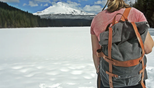 The Parva Rucksack was handmade using high quality leather and canvas and was made for outdoor adventures!